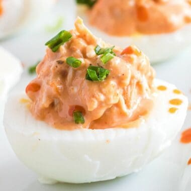 Buffalo Chicken Deviled Eggs are spicy, crunchy, and creamy! They're a fantastic appetizer for holiday gatherings, tailgate parties, or girls' night in!