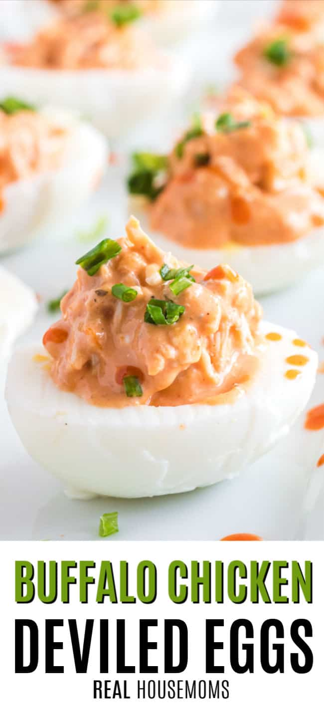 buffalo chicken deviled egg with green onion