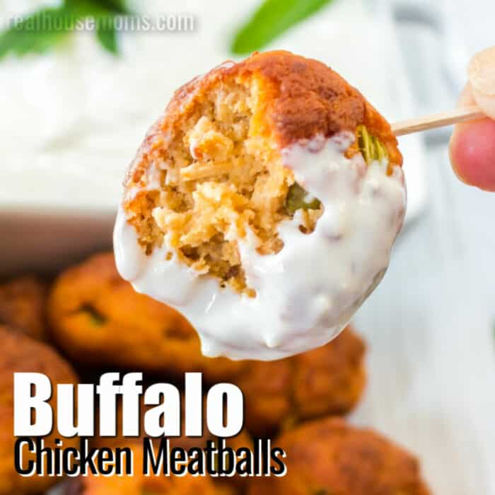 square image of buffalo chicken meatballs with text