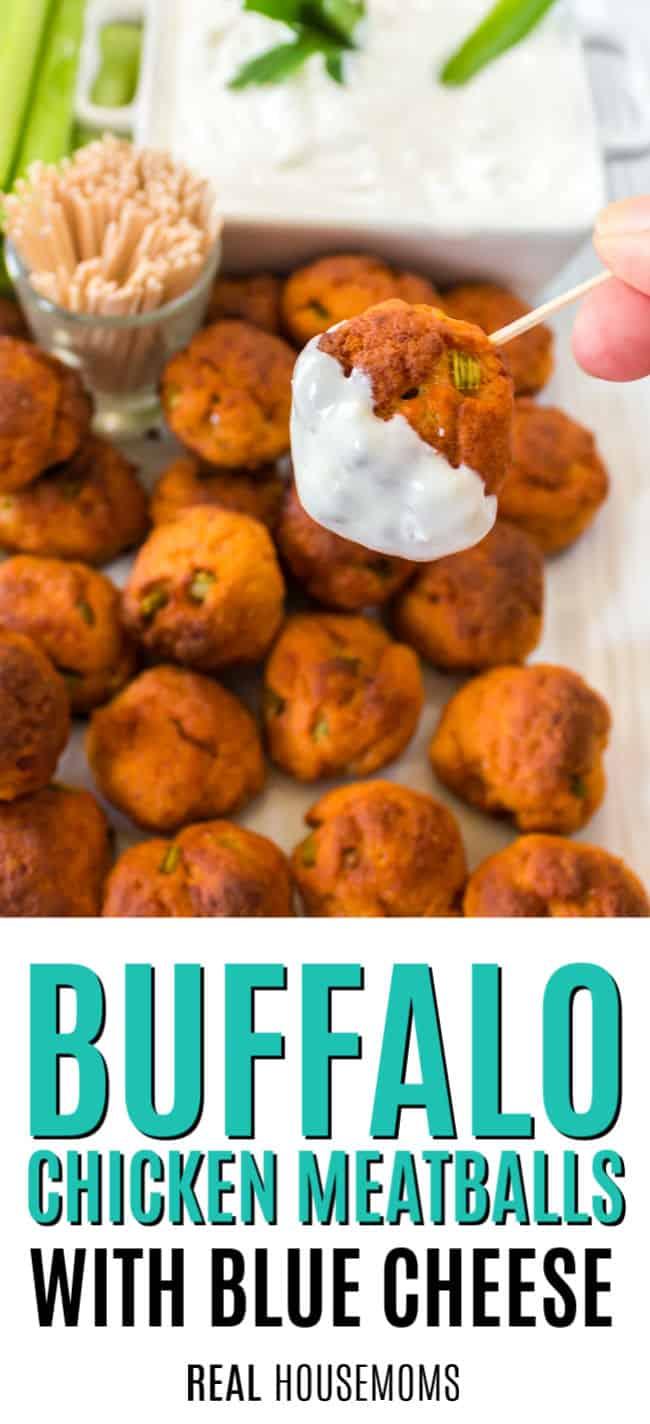 buffalo chicken meatball on a toothpick dipped in blue cheese sauce