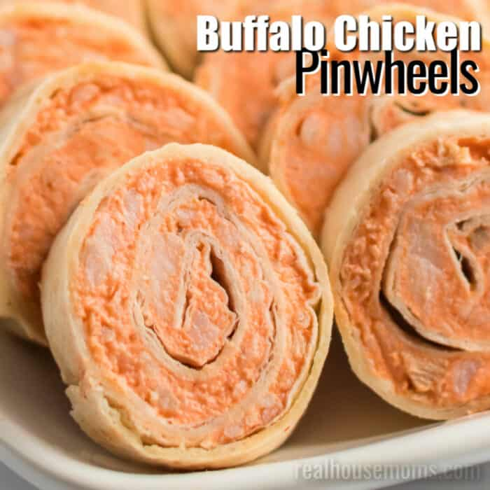 square image of buffalo chicken pinwheels with text