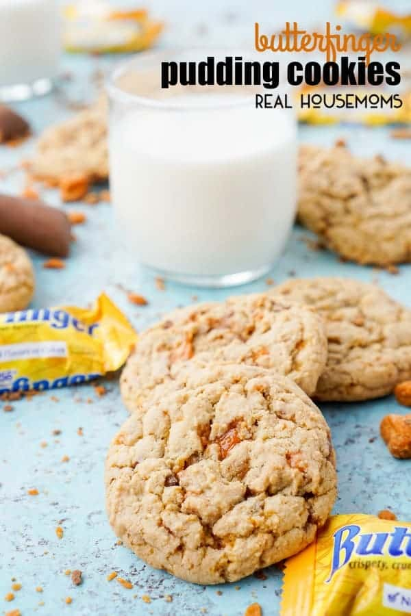 These BUTTERFINGER PUDDING COOKIES are everything you love about the classic candy bar in a chewy, buttery, sweet cookie!