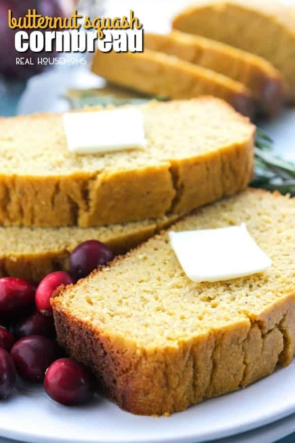 Butternut Squash Cornbread a simple fall recipe that is a festive addition to your holiday food spread!