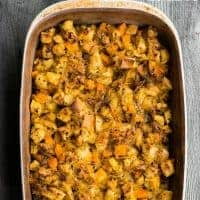 Butternut Squash and Leek Stuffing is a fall favorite, perfect for Thanksgiving. This classic dressing side dish can be a great vegetarian option too!