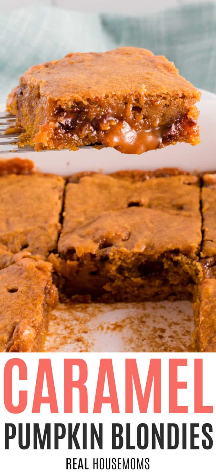 Hero Pic of Caramel Pumpkin Blondies, a flat spatula is holding a piece of the blondies and in the background is a sheet pan with additional blondies