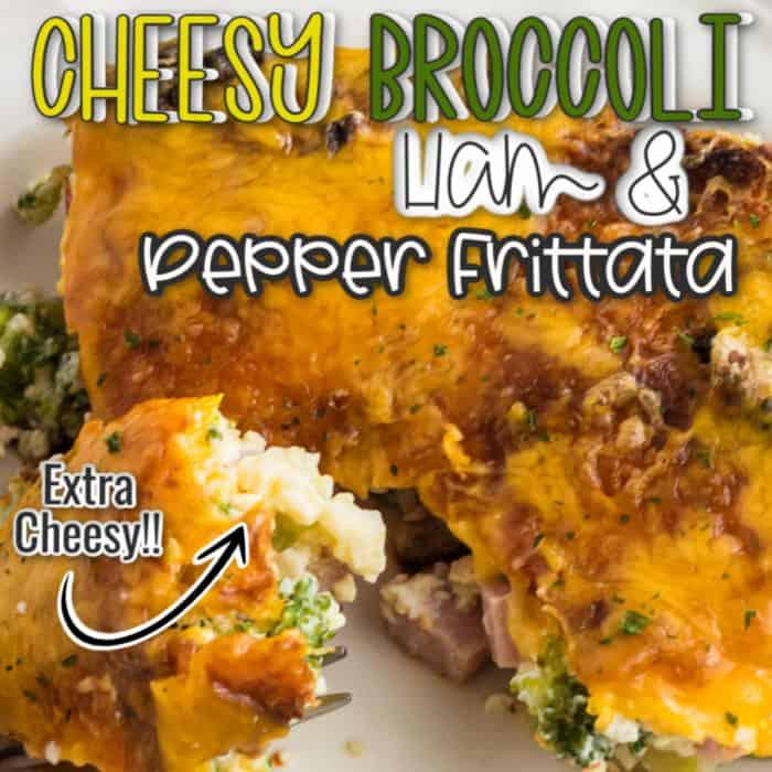 square image of cheesy broccoli ham and pepper frittata