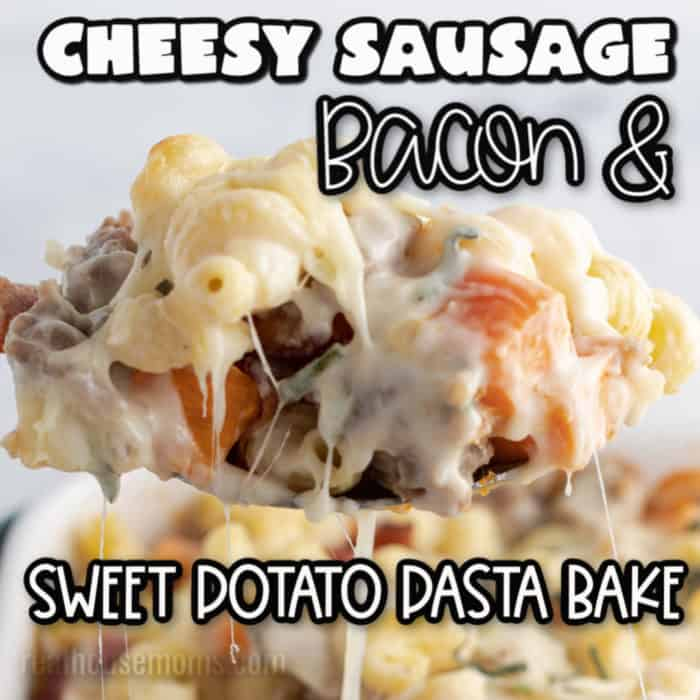 square image of Cheesy Sausage Bacon & Sweet Potato Pasta Bake