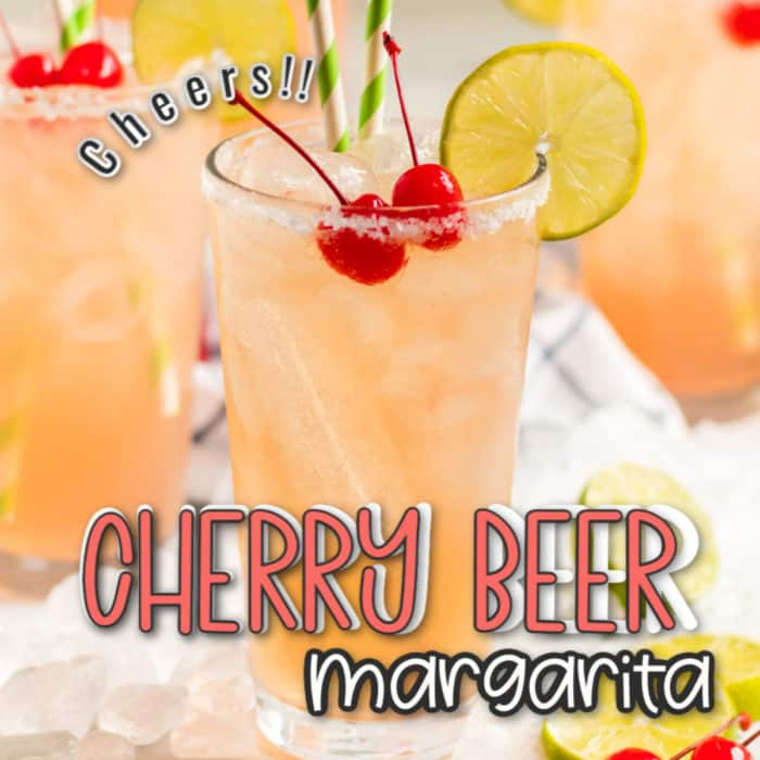 square image of close up of glass with cherry beer margarita