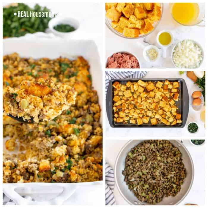 Square Collage image of Cornbread Dressing, left long image of Cornbread on a white serving platter, top right pic of ingredients , middle right pic of cornbread on a sheet pan, bottom right pic of all ingredients cooking in a pan