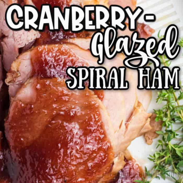 square image of cranberry glazed spiral ham