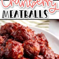 two pic collage image of cranberry meatballs. Top photo is meatballs in crock pot before cranberry sauce has been applied, bottom pic is a pile of cooked meatballs on a white plate