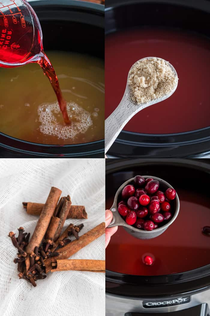 Four Pic Collage of ways to prepare the Apple Cranberry Cider , top left pic is pouring of cranberry juice in crock pot, top right adding sugar to crock pot, bottom left pic of cinnamon , bottom right cranberries being added to crock pot