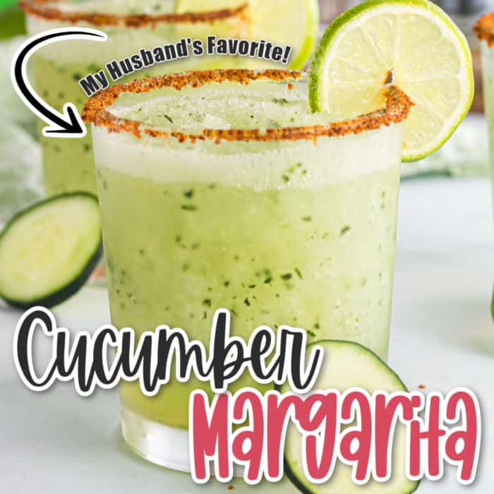 square image of close up of cucumber margarita with a lemon wedge