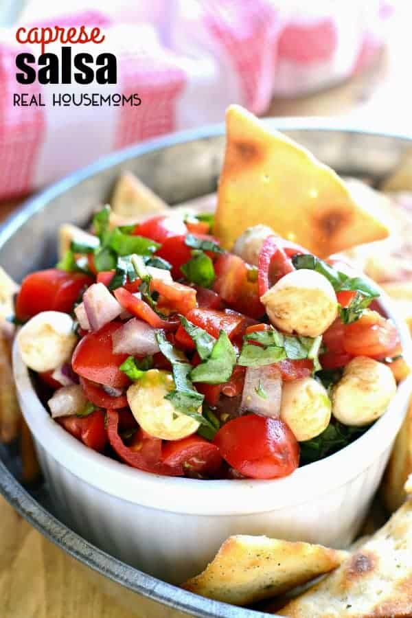 CAPRESE SALSA combines all the flavors of caprese salad in a delicious dip that's perfect for summer!