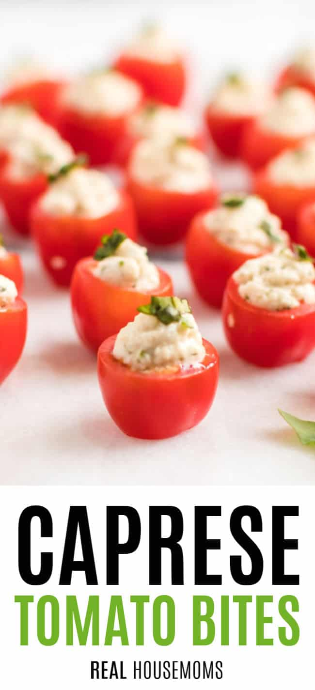 close up of caprese tomato bites on a platter
