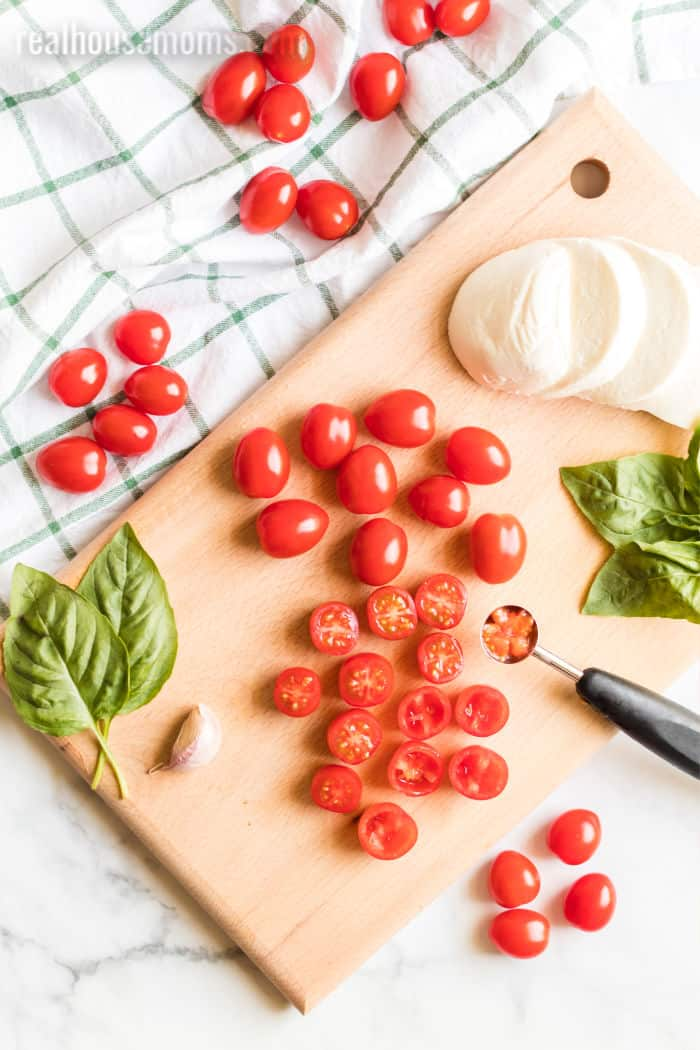 ingredients for caprese tomato bites