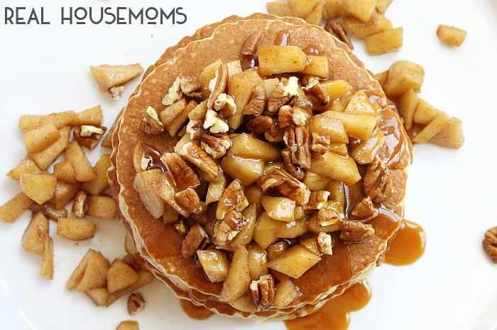 These CARAMEL APPLE AND PECAN PANCAKES are an easy breakfast packed full of the fall flavors you love!