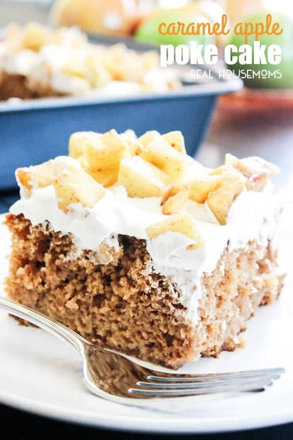 """Fall"" in love with this easy spiced CARAMEL APPLE POKE CAKE drizzled with caramel!"
