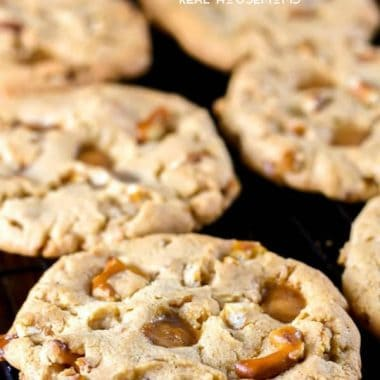 These Caramel Peanut Butter Pretzel Cookies are an over the top dessert that's a must for your holiday baking!