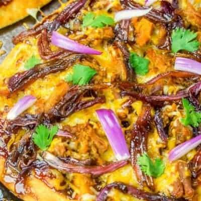 Caramelized Onion and BBQ Pork Flatbread
