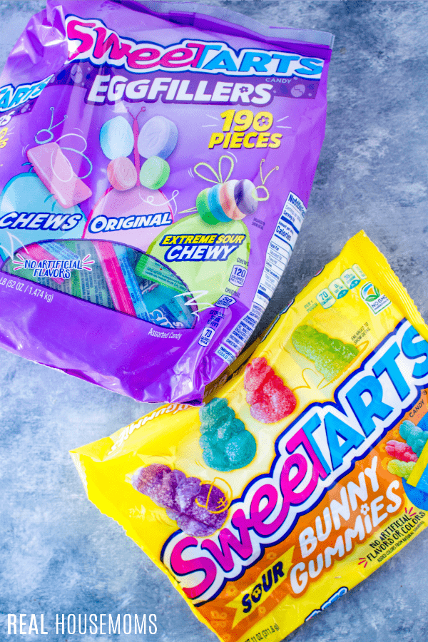 sweetarts candy bag and sweetarts sour bunny gummies