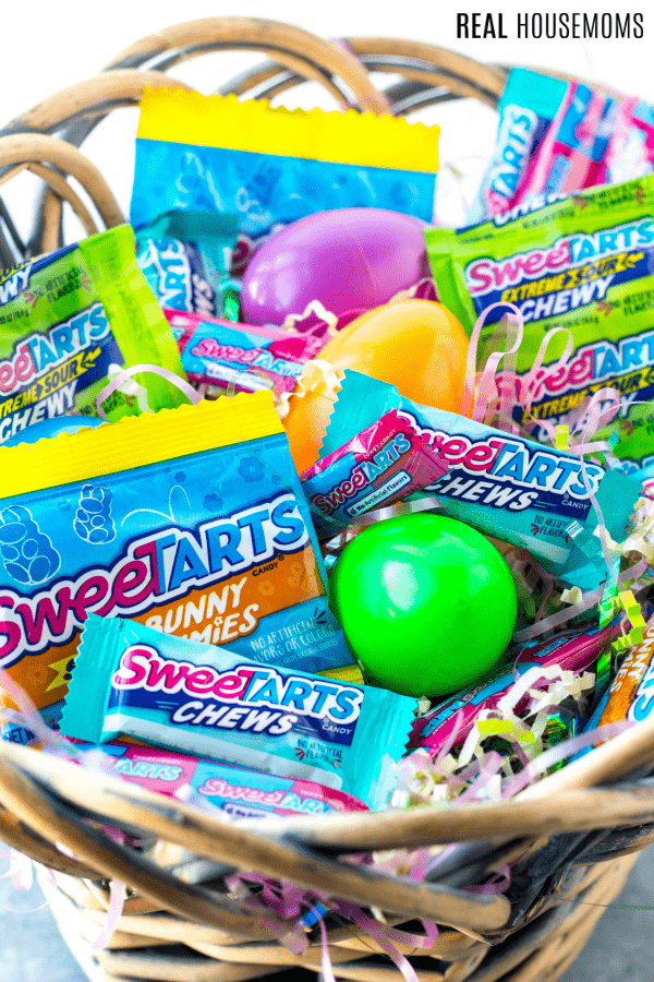 easter basket filled with sweetarts candies