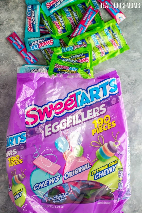 SWEETarts Egg-Fillers Candies pouring out of the bag