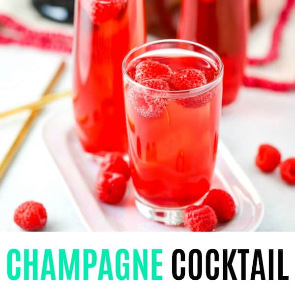 square image of champagne cocktail with text