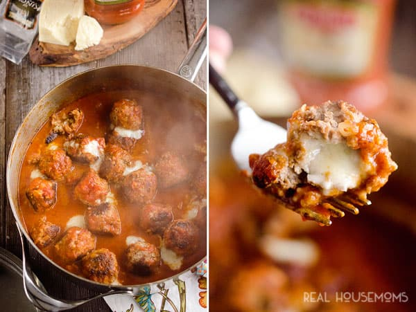 CHEESE STUFFED MEATBALL SKILLET is a rich and hearty 30-minute dinner idea that will keep everyone coming back to for more!
