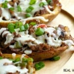 CHEESESTEAK POTATO SKINS are mash-up of classic potato skins and Philly Cheesesteak Sandwiches, making them the ultimate party appetizer!