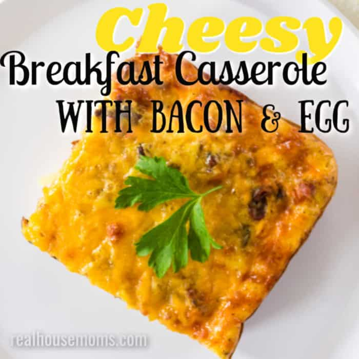 square image of breakfast casserole with bacon with text