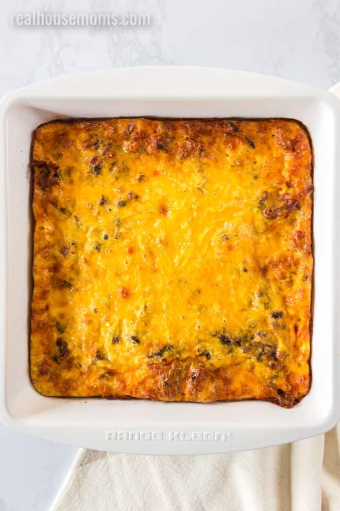 baked breakfast casserole in a pan