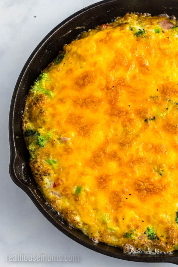 close up of a cooked frittata in a skillet