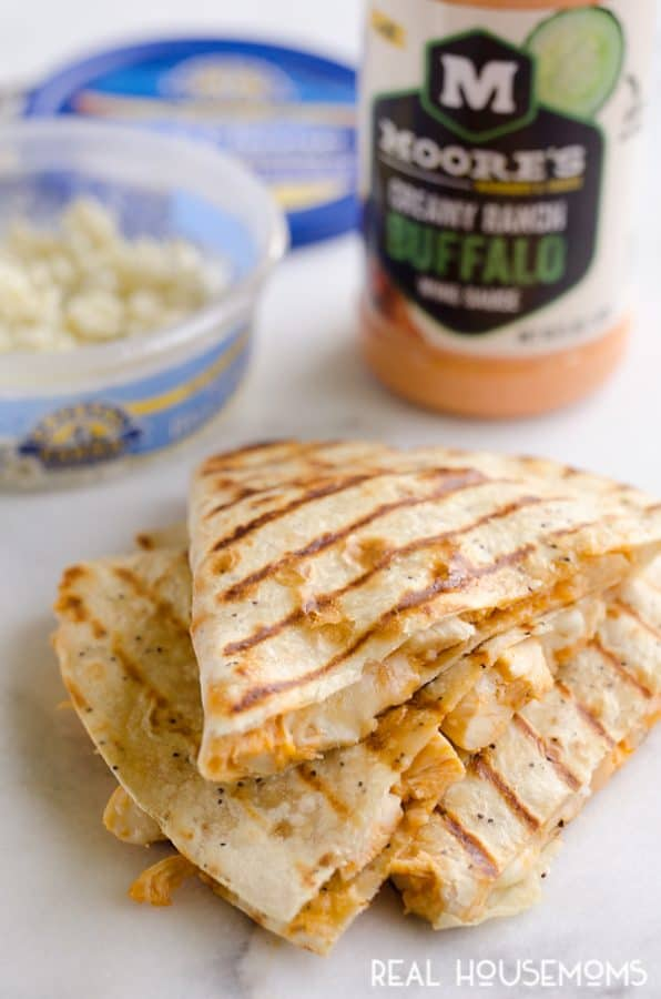 CHEESY BUFFALO CHICKEN QUESADILLAS are an easy 10-minute, 5-ingredient dinner idea you will want to make again and again!
