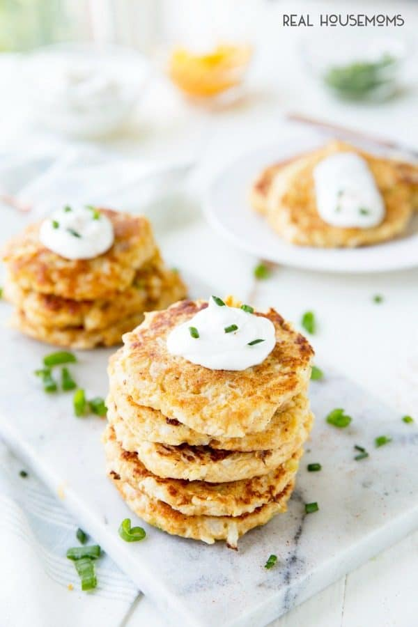 Stacks of Cheesy Cauliflower Pancakes ready to eat!