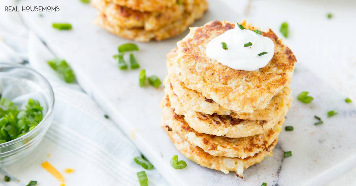 Cheesy Cauliflower Pancakes Recipe Real Housemoms