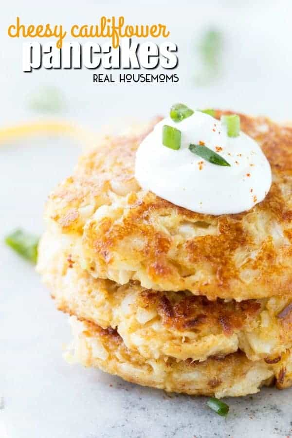 Cheesy cauliflower pancakes recipe real housemoms cheesy cauliflower pancakes are low carb super tasty and perfect for lunch or a side dish ccuart Image collections