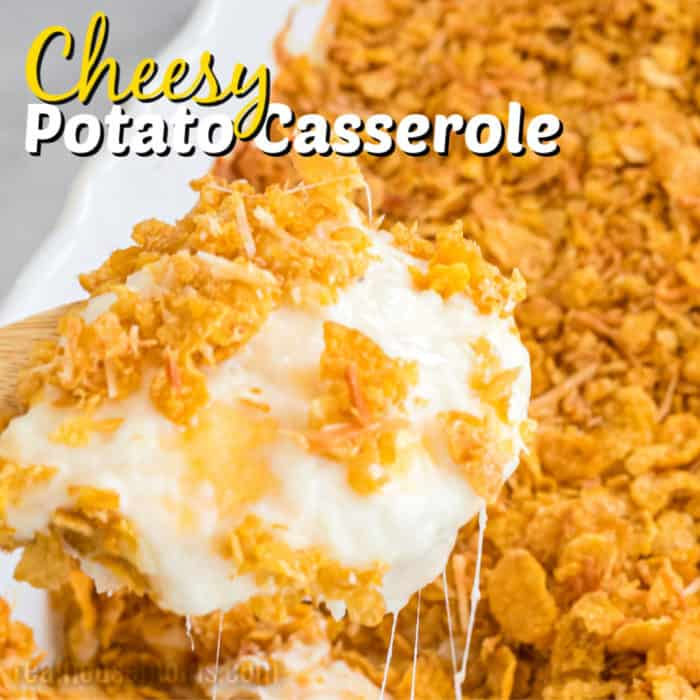 square image of cheesy potato casserole with text