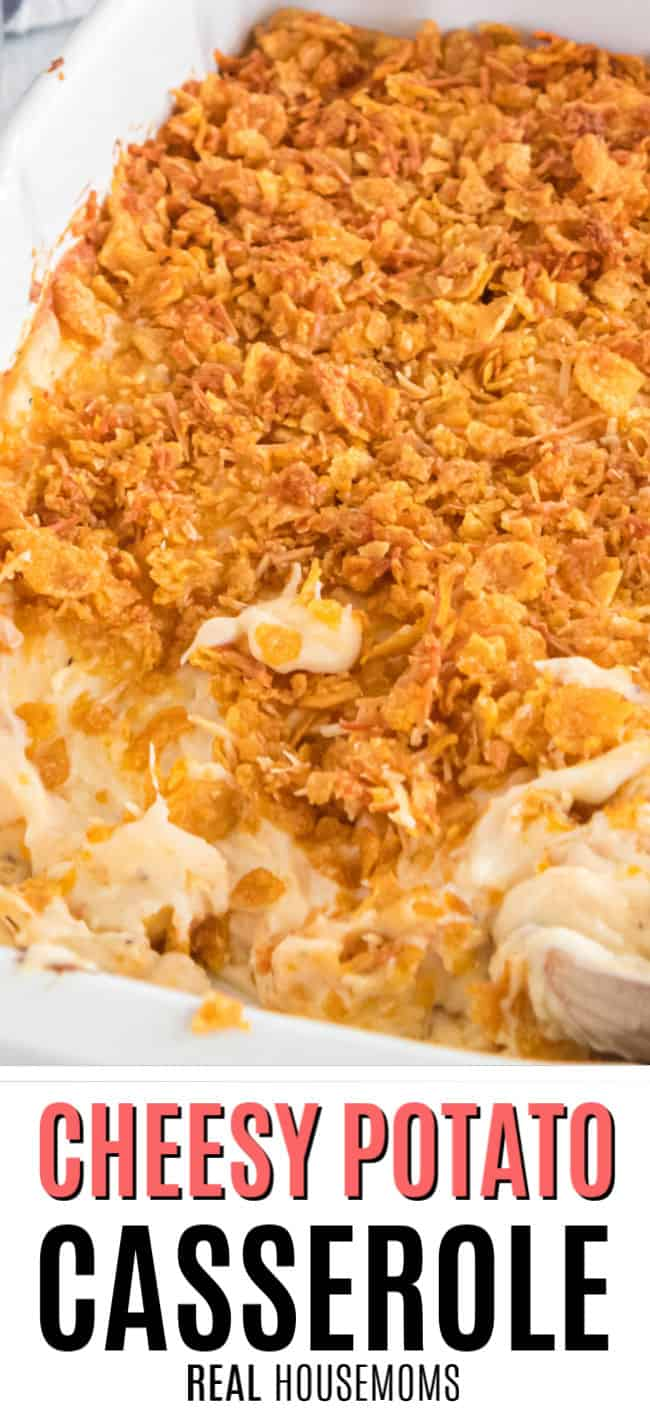 close up of potatoes casserole with cornflake topping