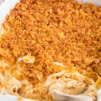 Cheesy Potato Casserole is a comforting side dish great that goes perfectly with all your favorite meals! Save on prep time with this semi-homemade recipe!