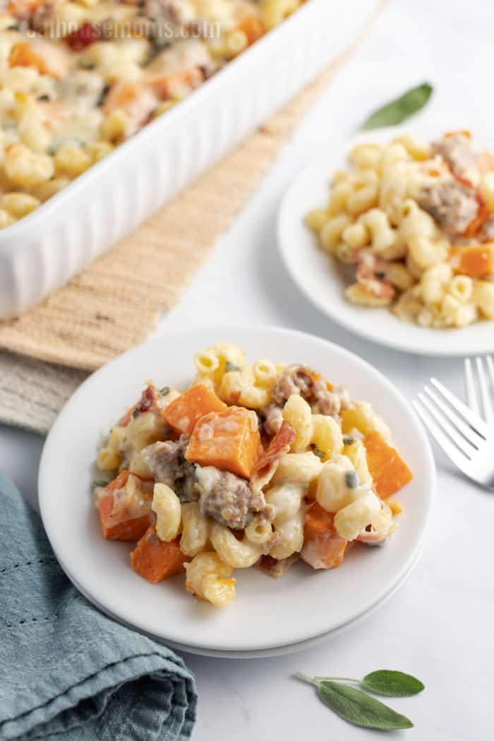 sausage and sweet potato pasta bake served on dinner plates