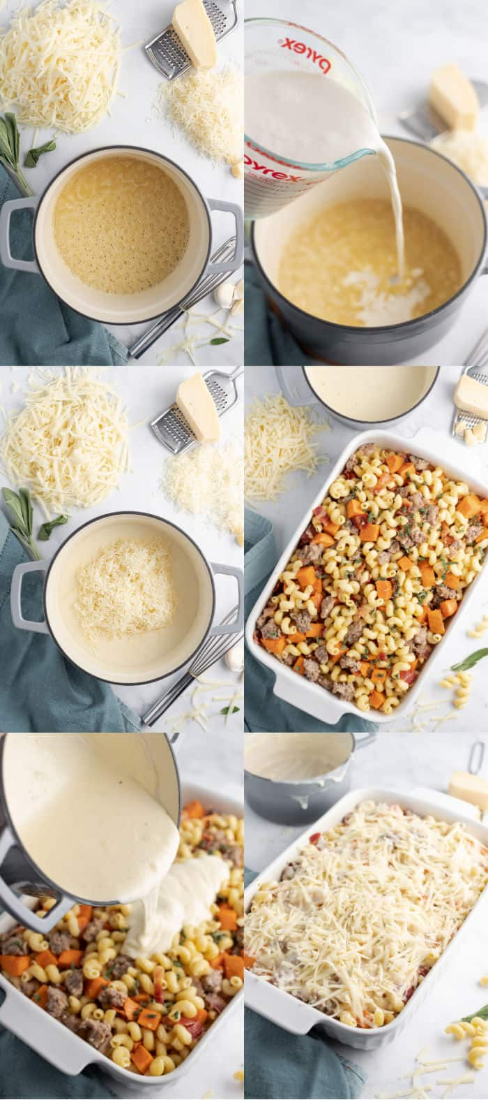 steps to make cheese sauce and assemble a sausage & sweet potato pasta bake
