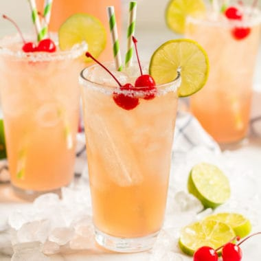 square image of cherry beer margaritas in tall glasses