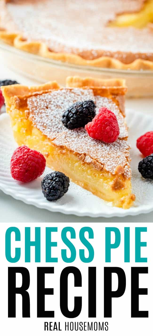slice of chess pie on a plate with berries