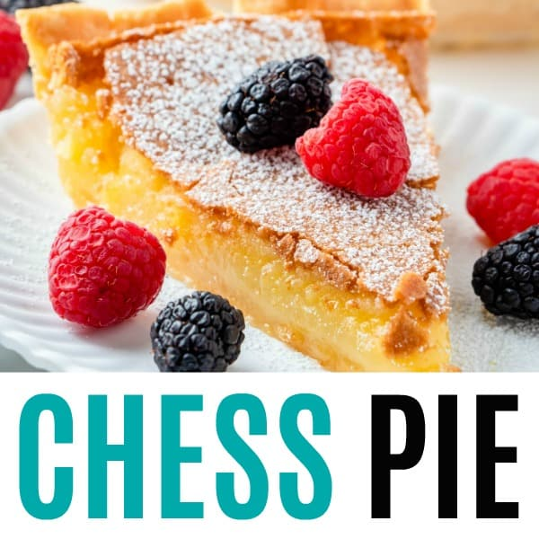 square image of chess pie with text