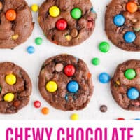 chocolate cake mix M&M cookies arranged in rows with M&Ms around with recipe name at the bottom