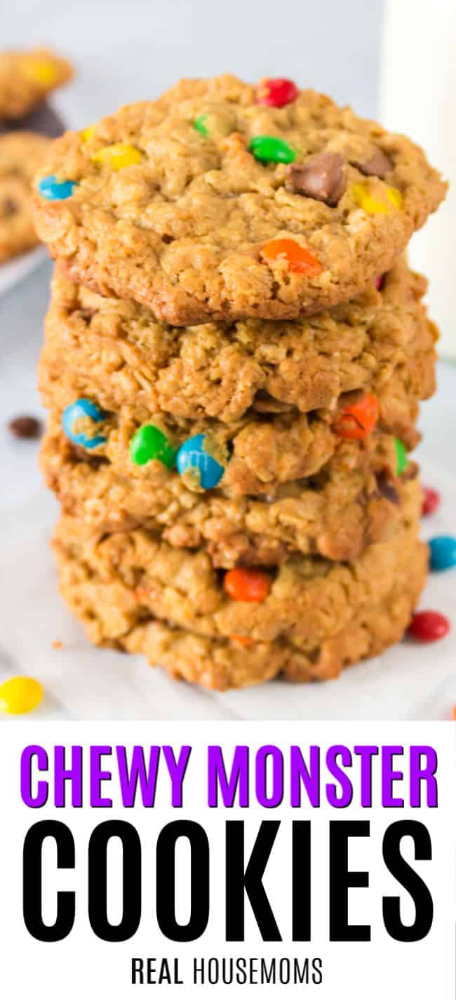 a stack of monster cookies with m&ms