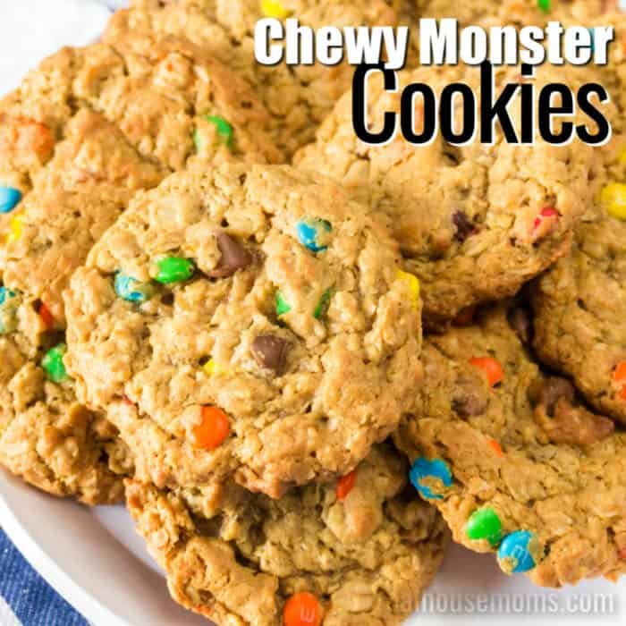square image of monster cookies with text