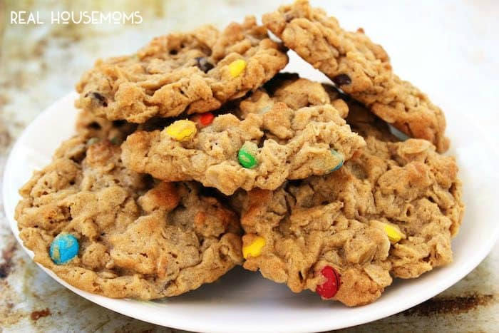 These CHEWY MONSTER COOKIES are everything you would want in a cookie - chocolate, oatmeal, peanut butter, and they're made without flour!