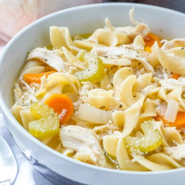 Quick, easy & made in one pot this Chicken Noodle Soup recipe is the best comfort food when you're wanting a food hug!